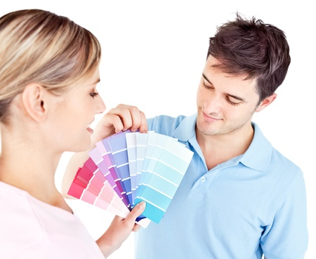 enamored: Enamored couple choosing color for a room Stock Photo
