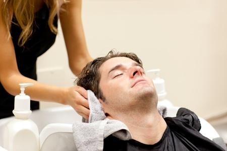Positive caucasian man shampooed Stock Photo - 10245143