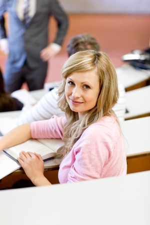 Portrait of a caucasian female student during a university lesson Stock Photo - 10254095