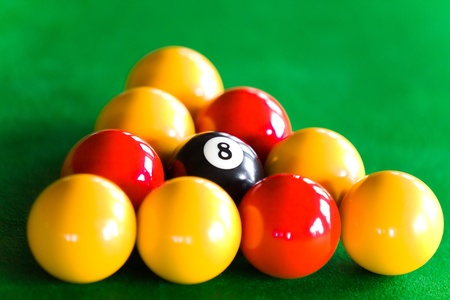 Close-up of billiard balls dispsed in triangle photo