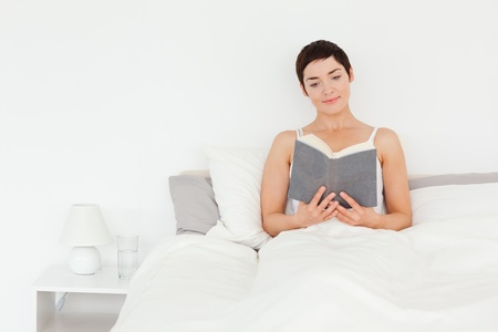 Brunette reading a book in her bedroom Stock Photo - 10787065
