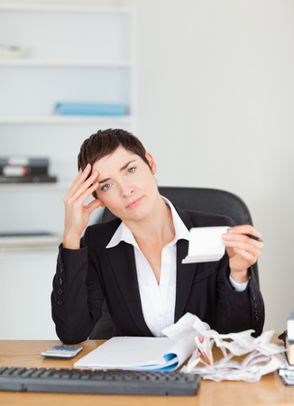 Portrait of an accountant checking receipts in her office Stock Photo - 10791133