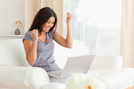 happy woman sitting on sofa with notebook in livingroom Stock Photo - 11191755
