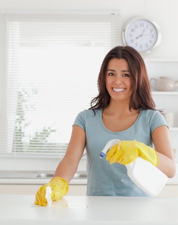 disinfecting: Charming female doing the housework while using a spray in the kitchen Stock Photo