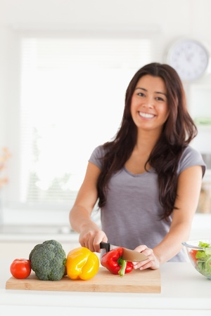 Charming woman cooking vegetables while standing in the kitchen Stock Photo - 11203911
