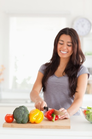 Lovely woman cooking vegetables while standing in the kitchen Stock Photo - 11203931