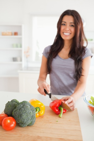 Pretty female cooking vegetables while standing in the kitchen Stock Photo - 11205791