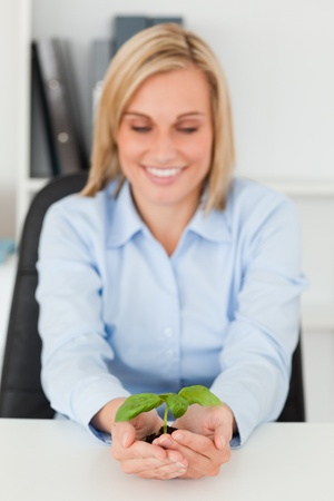 Smiling businesswoman looking at little green plant in her office photo