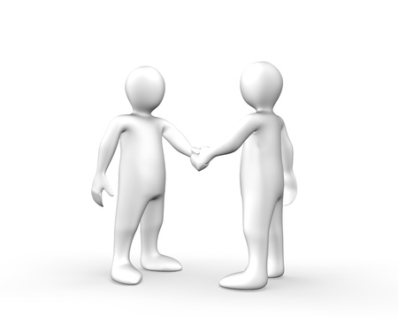 3d men shaking hands against a white background photo