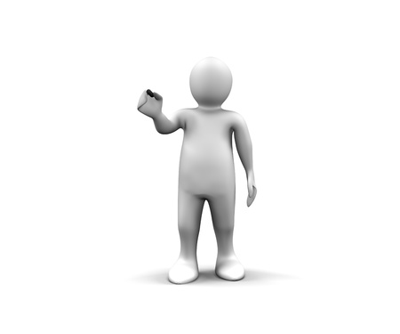 3d man showing a black stick against a white background photo