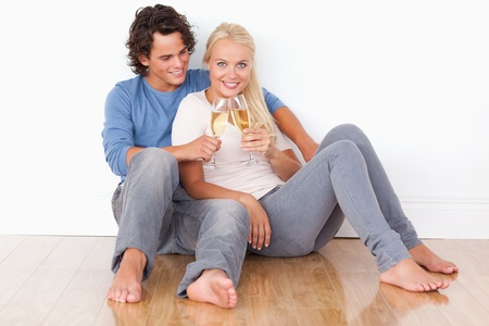Portrait of a couple toasting while sitting on the floor photo