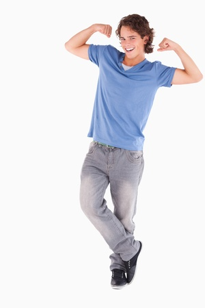 Cheerful dark-haired man posing in a studio Stock Photo - 11206473
