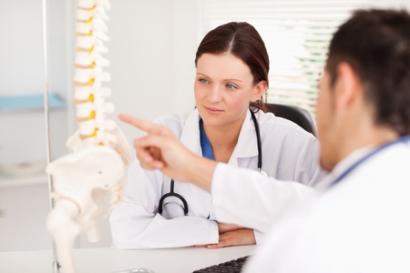 A doctor is showing a female doctor something on a spine photo