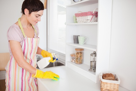 Beautiful brunette woman cleaning a cupboard in the kitchen photo