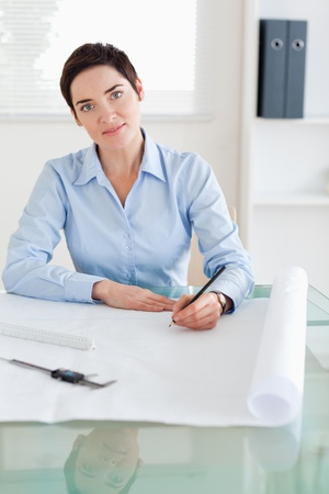 Gorgeous woman with a architectural plan looking into the camera in an office photo