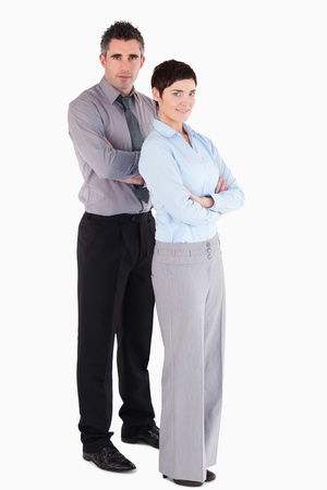 Managers standing up against a white background photo