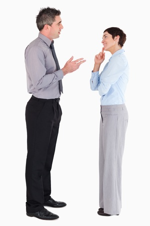 Managers talking to each other against a white background photo
