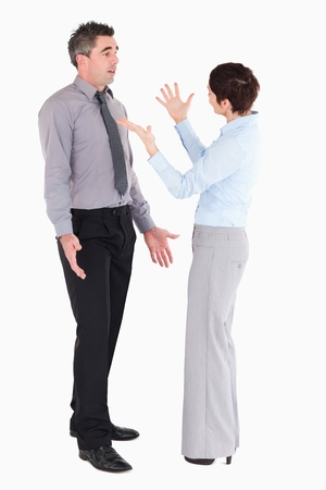 Office workers arguing against a white background photo
