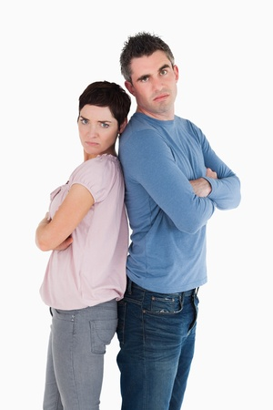 Couple mad at each other standing back to back Stock Photo - 11213249