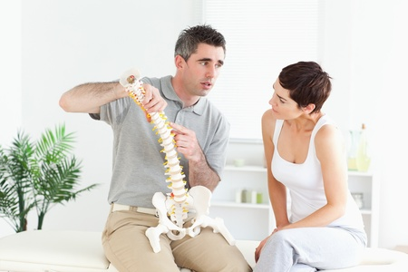 Brunette woman looking at a model-spine listening to an explanation photo