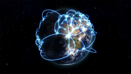 courtesy: An illustration about worldwide connections with an Earth image courtesy of Nasa.org Stock Photo