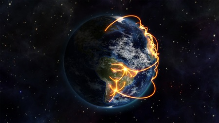 An illustration of the world being virtually connected with an Earth image courtesy of Nasa.org illustration