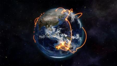 courtoisie: Une image illustr�e sur les connexions virtuelles � travers le monde avec une courtoisie image de la Terre de Nasa.org Banque d'images