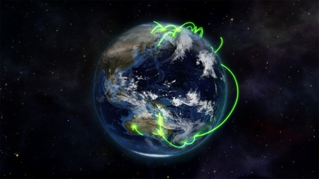 courtesy: An illustration about the connected world in the space with an Earth image courtesy of Nasa.org Stock Photo