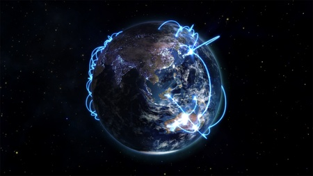 courtesy: Illustration connectivity and communication with an Earth image courtesy of Nasa.org Stock Photo
