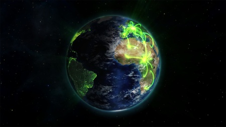 courtesy: An illustrated earth in space with glowing connections with an Earth image courtesy of Nasa.org