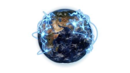 courtesy: An illustrated connected earth against white background with an Earth image courtesy of Nasa.org Stock Photo