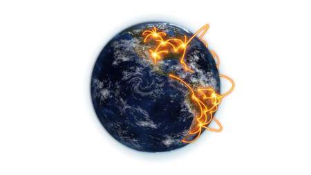 Illustrated orange connections on small earth against white background with an Earth image courtesy of Nasa.org photo