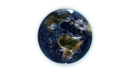 courtesy: Illustrated little earth against white background with an Earth image courtesy of Nasa.org Stock Photo