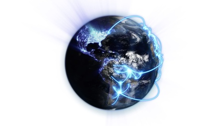 courtesy: Illustrated blue connections on blurred earth against white background with an Earth image courtesy of Nasa.org Stock Photo