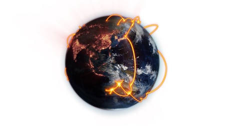 Illustrated orange connections on the world against white background with an Earth image courtesy of Nasa.org photo