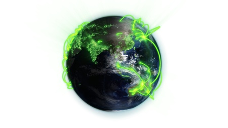 courtesy: Illustrated green connections on world against white background with an Earth image courtesy of Nasa.org