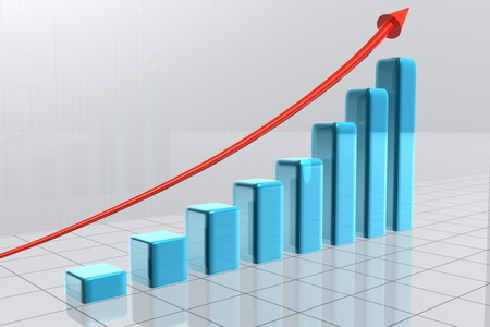 An arrow is going over bars which form a statistic Stock Photo - 11227724
