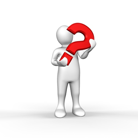 An illustrated white figure holding a red question mark photo