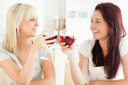 Joyful women toasting with wine in a kitchen photo