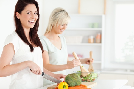 Laughing Women preparing dinner in a kitchen photo