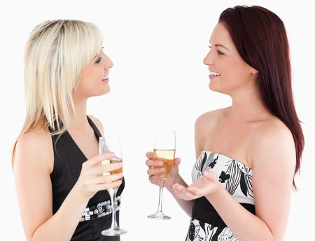 Gorgeous well-dressed women drinking champaign in a studio photo