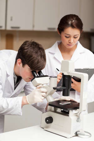 Portrait of a scientist looking in a microscope while his coworker is taking notes in a laboratory photo