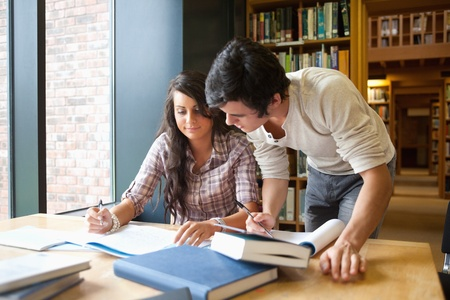 Two students working together in a library Stock Photo - 11185476