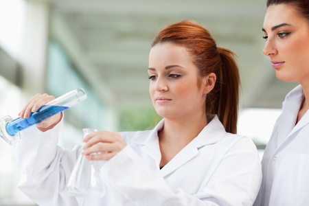 erlenmeyer: Scientists pouring liquid in an Erlenmeyer flask in a laboratory