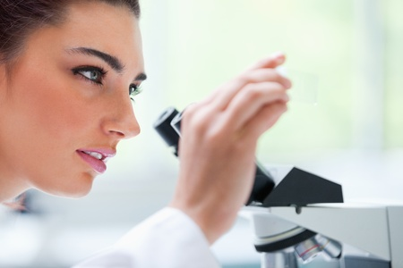 Young woman looking at a microscope slide in a laboratory photo