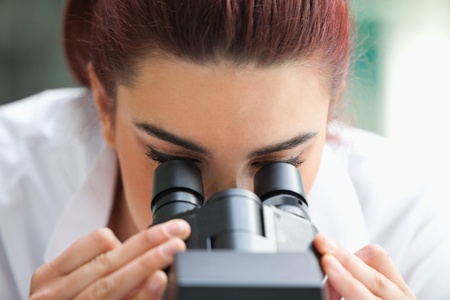 experimentation: Close up of a scientist looking into a microscope in a laboratory