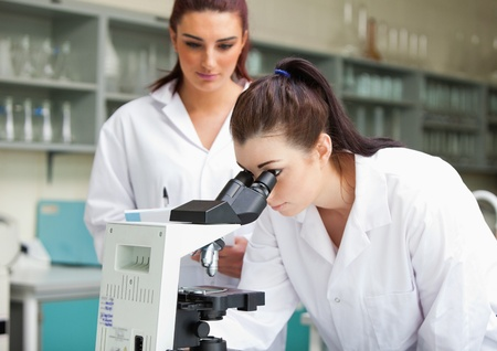 biochemist: Science students working with a microspcope in a laboratory