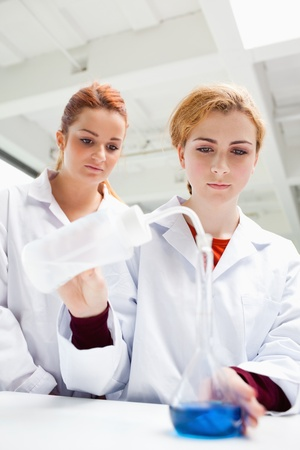 Portrait of science students doing an experiment in a laboratory photo