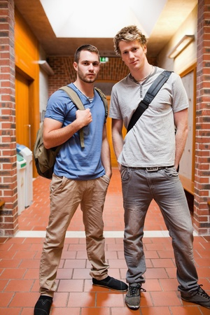 Portrait of handsome students posing in a corridor photo