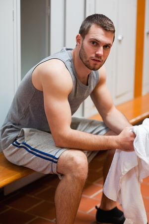sporty: Portrait of a sports student with a towel